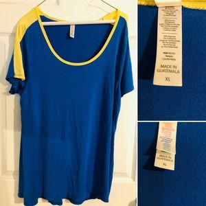 EUC -LuluRoe Top -Blue & Gold